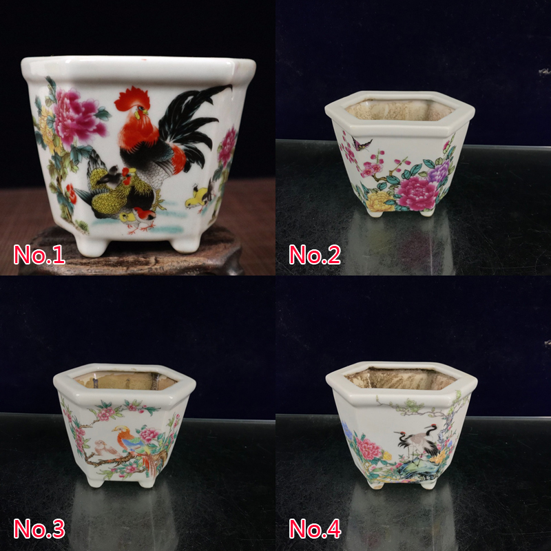 Chinese Old Porcelain Flower and Bird/Landscape/Rooster Pastel Flower Pot Decoration/5 Styles
