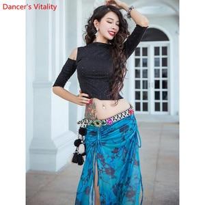 Image 1 - Saia para treinamento de dança do ventre, roupas femininas para treino de dança do ventre, saia com brilho oriental, desempenho indiano para prática de dança