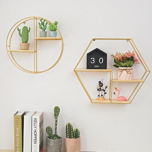 Nordic Style Metal Wood Hexagonal Rack Shelf Geometric Figure Storage Rack Wall Hanging Book Figurines Flower Pot Display Shelf 1