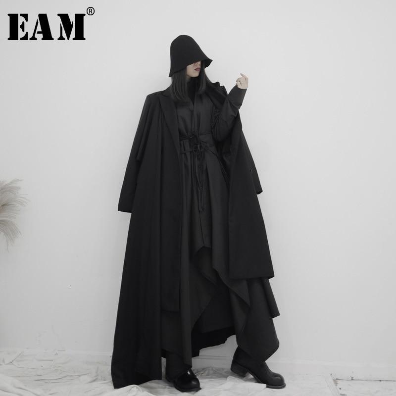 [EAM] Women Asymmetrical Split Long Trench New Lapel Long Sleeve Loose Fit Windbreaker Fashion Tide Spring Autumn 2020 19A-a605