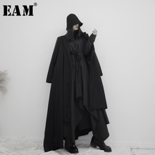 [EAM] Women Asymmetrical Split Long Trench New Lapel Long Sleeve Loose Fit Windb