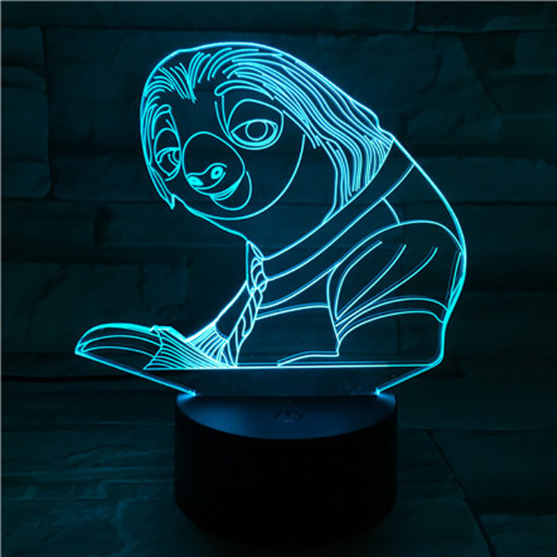 Cute Bradypod Mister 3D Visual Lamp Colorful Touch Color Changing Small Night Lamp Gift Lamp|Night Lights| |  - title=
