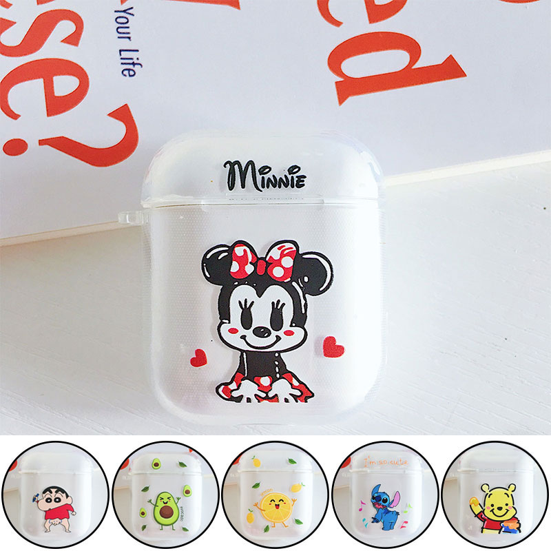 For Apple Airpods 1 2 Earphone Cartoon Minnie Mickey Soft Silicone Case For Air Pods Wireless Headphone Shockproof Clear Cover