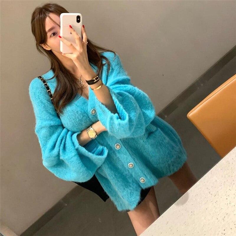Купить женское однотонное платье свитер в корейском стиле элегантное