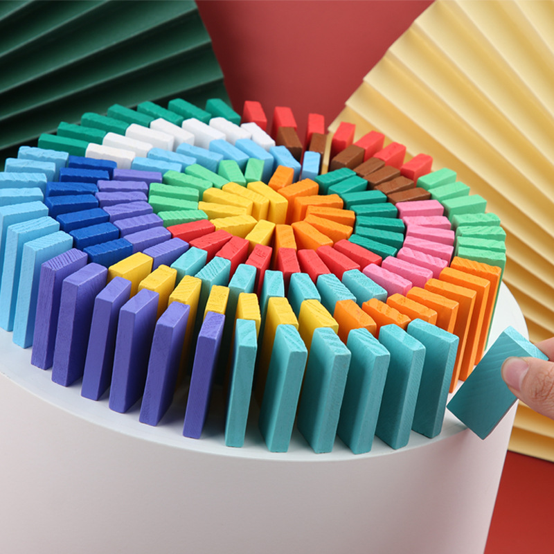 120pcs Children Color Sort Rainbow Wood Domino Blocks Kits Early Bright Dominoes Games Educational Toys For Kid Montessori  Gift