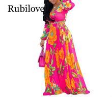 Rubilove 2019 Women Summer Floral Printed Chiffon Long Beach Dress Belt Bohemian Loose Maxi Vintage Elegant Evening Party