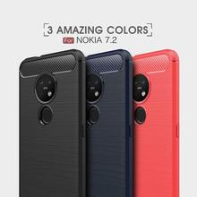Soft Cover Full Protection Carbon Fiber TPU Silicone Matte Phone For Nokia 2.3 7.2 2.2 3.2  7.1 X71 6 X6 8 9 5.1 3.1 2.1 Case