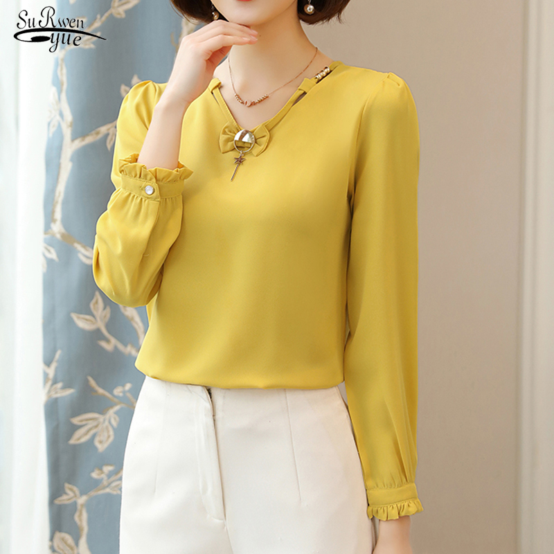New Blusas Mujer 2020 Spring Chiffon Shirt Women Long Sleeve Bow Knot Female Blouse Plus Size Women Blouse And Tops 8406 50