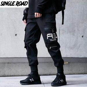 Мужские брюки-карго SingleRoad, модные брюки-карго с боковыми карманами для бега в стиле хип-хоп, Харадзюку, Японская уличная одежда, черные брюки...