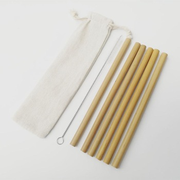 4 or6PCS Natural Bamboo Straw Set Eco Friendly Bamboo Straw Reusable Drinking Straws with Straw Case Clean Brush 8 or 9inches 1