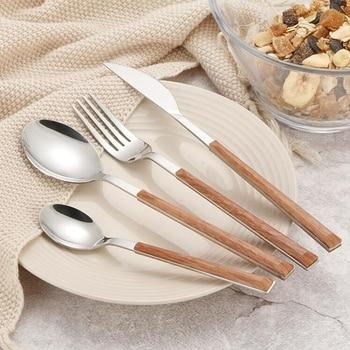 24Pcs 304 Stainless Steel Tableware Set Glossy Wood Silver Dinnerware Sets Western Food Knife fork Teaspoon Cutleries