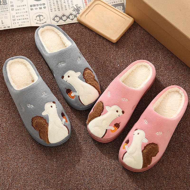 Cute Squirrel Women Winter Home Slippers Cartoon Animal Soft Winter Warm House Shoes Men Women Girl Boys Indoor Bedroom Slippers 2