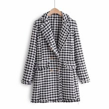 Mooirue Winter Coat Women White Black Plaid Vintage Streetwear Harajuku Cardigan Button Casual Korean Style Wool Outwear
