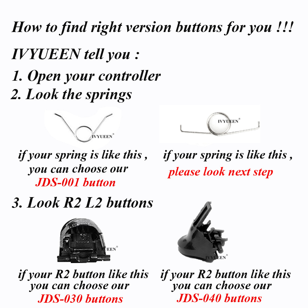 IVYUEEN for Dualshock 4 PS4 PRO Slim Controller L1 R1 L2 R2 Trigger Buttons Analog Stick + Conductive Rubber Button Repair Parts 6