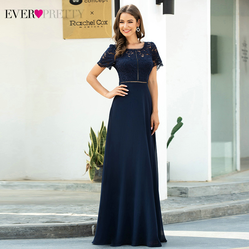 Navy Blue Floral Lace Evening Dresses Ever Pretty A-Line O-Neck Hollow Out Short Sleeve Elegant Party Gowns Abiye Gece Elbisesi