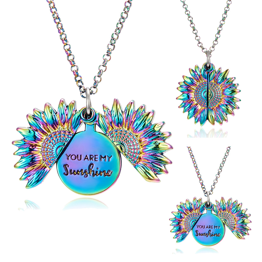 Openable Lettering Colorful Flower Necklace You Are My Sunshine Sunflower Necklace Best Wish For Lady Girl Temperamen Gifts image