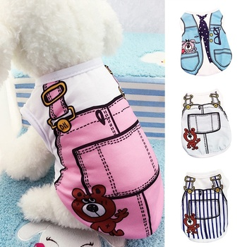 Spring Summer Cartoon Vest Shirt Cat Dog T-shirt Pet Clothes Puppy Costume Outfits Puppy Cute Apparel Clothing