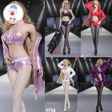 1/6 femme cuir Trench Coat mode coupe vent Costume Costume ensemble Sext sous vêtements bas chaussures pour 12 pouces Figures