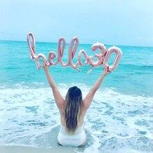 Ballons gonflables Hello 30 en or Rose, décoration de fête prénatale 10/13/15/21/25e anniversaire, numéros 21 et 30