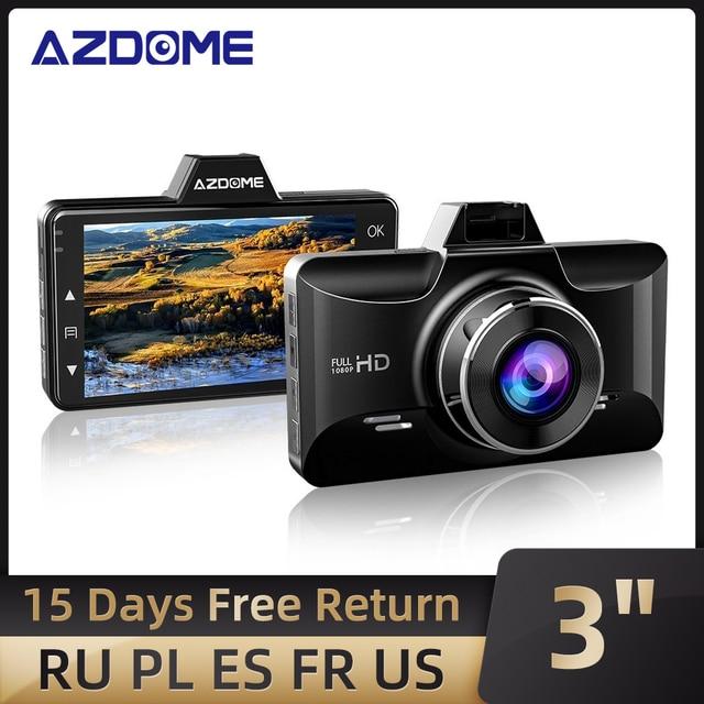 AZDOME Dash kamera FHD 1080P gece görüş, 3 inç IPS ekran Dash arabalar için, ön panel kamerası DVR park monitörü