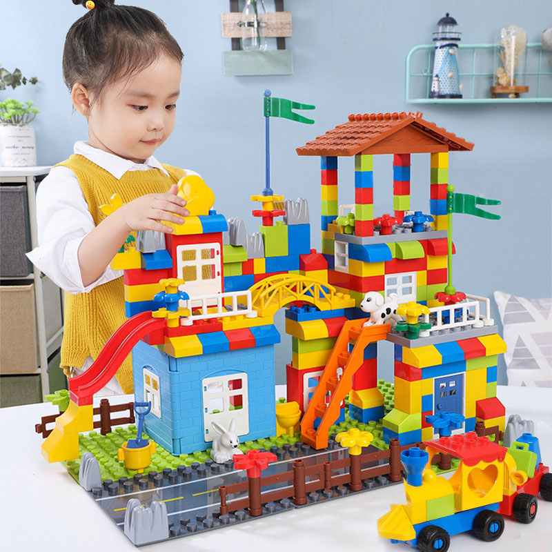 Big Particle Blocks Marble Race Run Slide Blocks Compatible Duploed Legoingly City Blocks House Castle Building Blocks Brick Toy