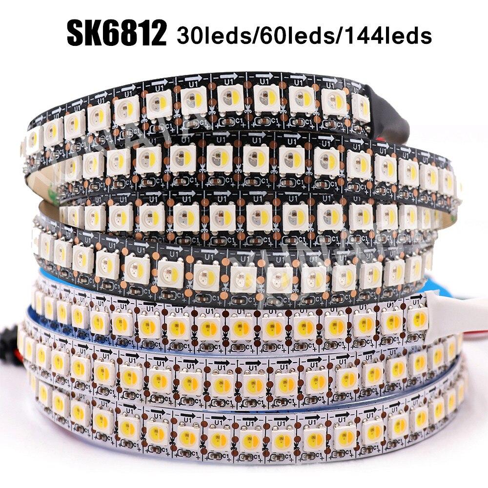 DC 5V SK6812 RGBW RGBWW RGBNW WWA tira de Led de 4 en 1 similares WS2812B 30 60 144 LEDs individuales direccionable luz Led 1m 2m 5m