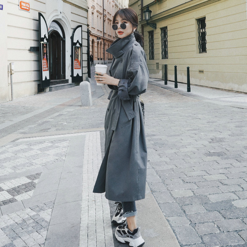 2020 Brand New Fashion Grey Women Trench Coat Office Lady Duster Coat Spring Autumn Cloak