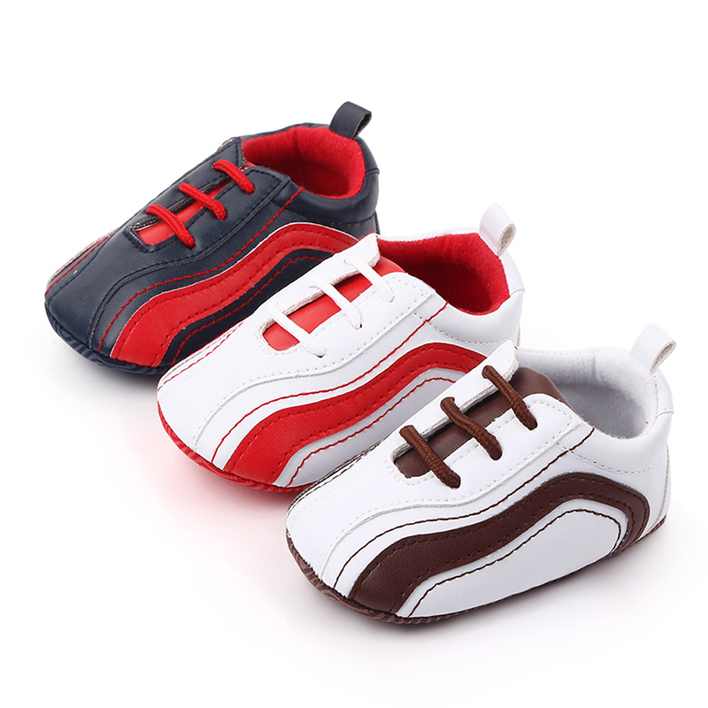 Striped Infant Toddler Baby Boy Girl Soft Sole Crib Shoes Newborn First Walker Baby Boys Girls Pu Leather Shoes For 0-12 Month