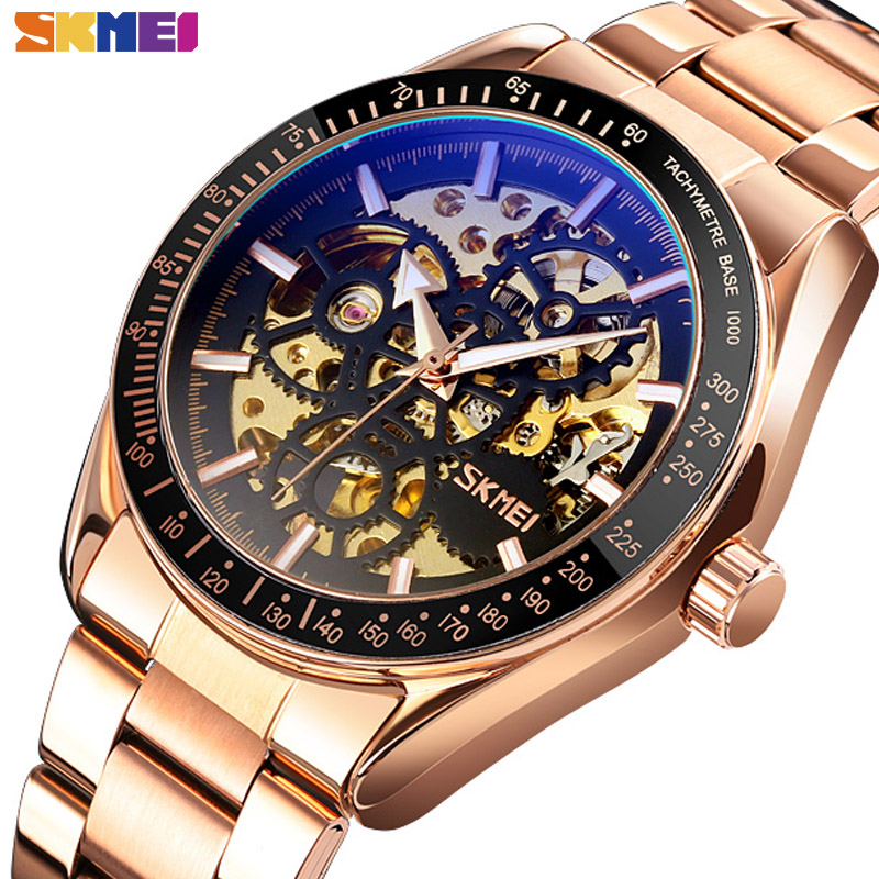 SKMEI Automatic Watches Mens Hollow Mechanical Wristwatches Men Luminous Point Colorful Watch Hour Fashion Montre Homme 9194