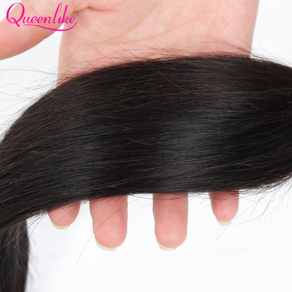 H79b23f50a737450c8542d20625beb714S Queenlike 100% Human Hair Weave Bundles With Closure Non Remy Hair Weft 3 4 Bundles Brazilian Straight Hair Bundles With Closure