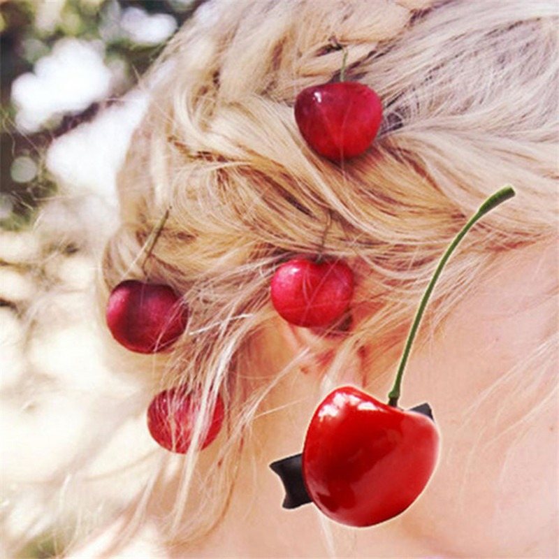New Arrival Women's Lovely Cherry Hairpins Fashion Girl's Cute Hair Clips Hair Accessories 2019 Hair Clip For Girls