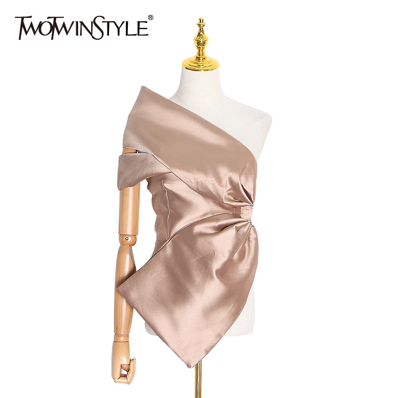 TWOTWINSTYLE Asymmetrical Sexy Off Shoulder Shirt For Women Skew Collar Sleeveless Blouse Female 2020 Spring Fashion New
