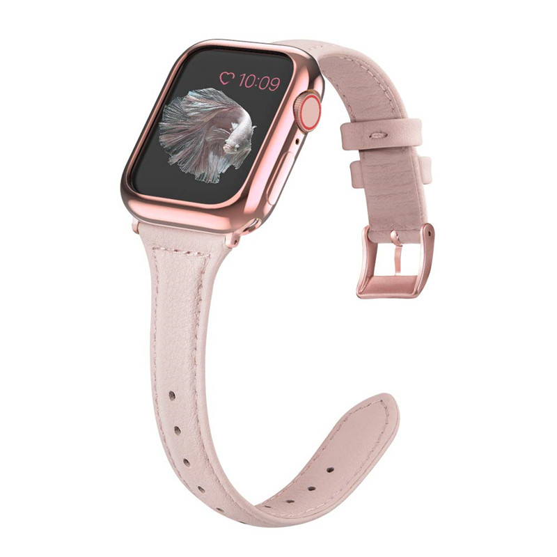 For Apple watch band 38mm 40mm 42mm 44mm genuine leather watch strap with soft TPU protective case for iWatch series 4 3 2 1 image