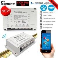 Sonoff Wireless Smart Switch 4CH Pro R2 433mhz 4 Channels Gang RF Remote Wifi Switch Inching Interlock Relay Alexa Google Home