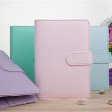 MINKYS Macaroon Color A6/A5 PU Leather DIY Binder Notebook Cover Diary Agenda Planner Bullet Cover School Stationery