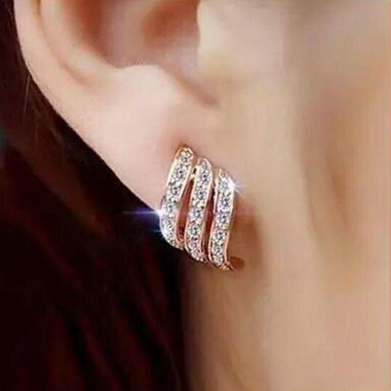Mode rose pierre cristal fleur goutte boucles d'oreilles pour femmes or strass boucles d'oreilles bijoux modernes cadeau 26