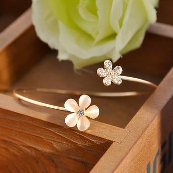 Women Girl Fashion Flower Opal Crystal Bracets Gold Color Cuff Hot Sale Bracelet Bangle Charm Jewelry Gift Fashion Jewelry 2