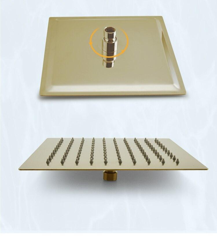 "H79b2a2eeb2dd4ae782ff3897bd35c6321 Brushed Gold Rain Shower Head Bath Faucet Set 8/10/12"" Ceiling Mounted Bathroom Shower Heads Single Function Shower Trim Kit"