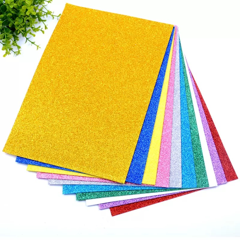 5sheets/bag Foamiran Sponge Glitters Foam Paper 20x30cm Craft Paper Gold Spong Paper Powder Handmade Paper Crafts Decor DIY Gift