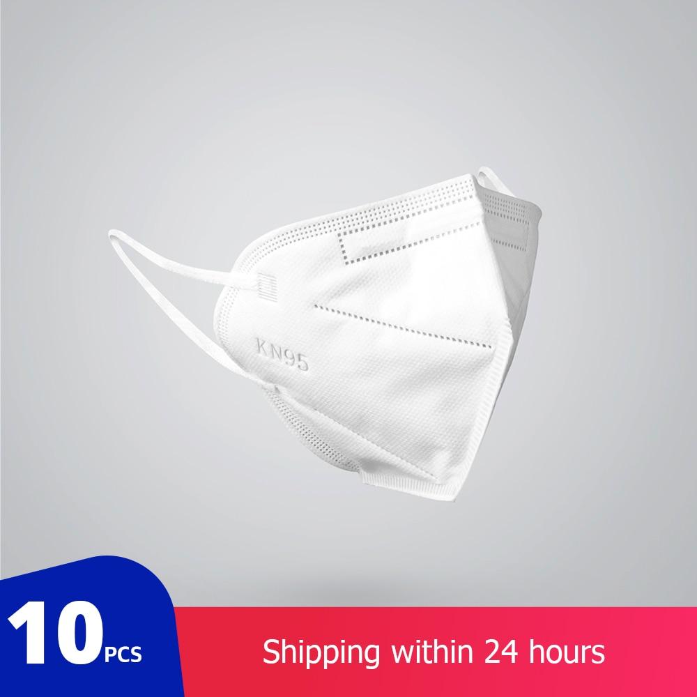 1662.8руб. 38% СКИДКА|10 шт. KN95 пылезащитные противотуманные и дышащие маски для лица 95% фильтрация N95 маски характеристики как KF94 FFP2|Маски| |  - AliExpress