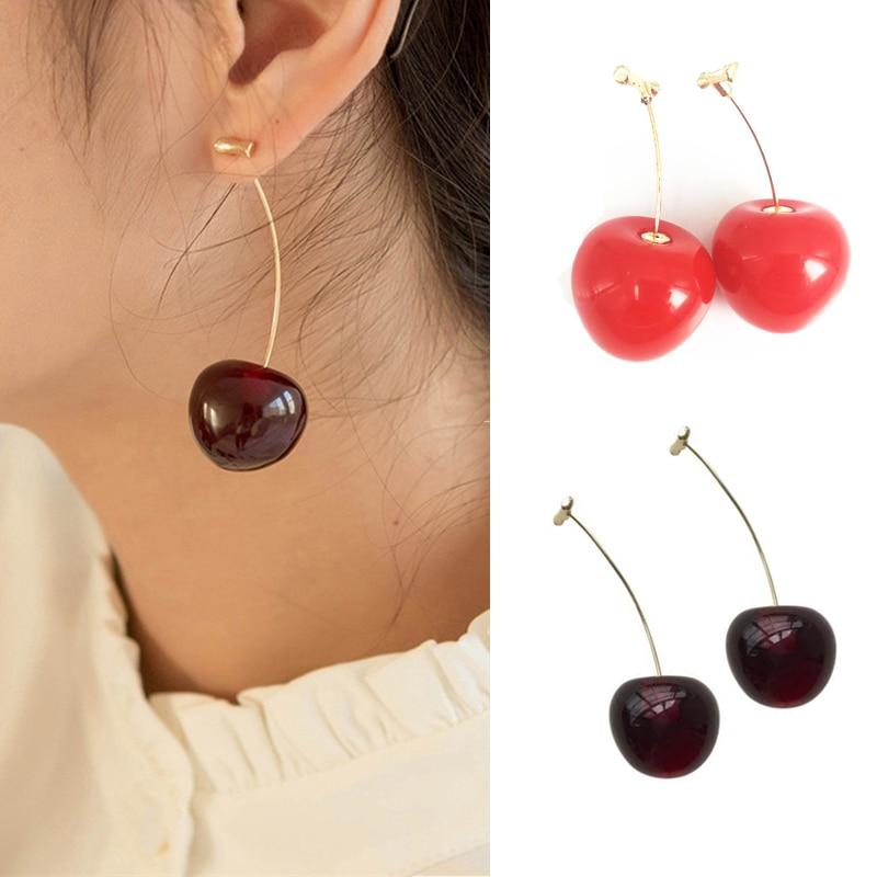 New Fashion Red Cherry Gold Drop Earring Sweet Fruit Long Crystal Earrings For Women Lady Gift Jewelry Tassel Dangle Accessories