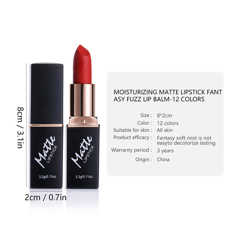 12 Colors Matte Lipsticks Waterproof Matte Lipstick Lip Sticks Cosmetic Easy to Wear Matte Batom Makeup Lipstick 5