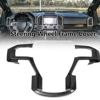 Car Carbon Fiber Steering Wheel Moulding Panel Cover Trim for Ford F150 2015-2019 Accessories