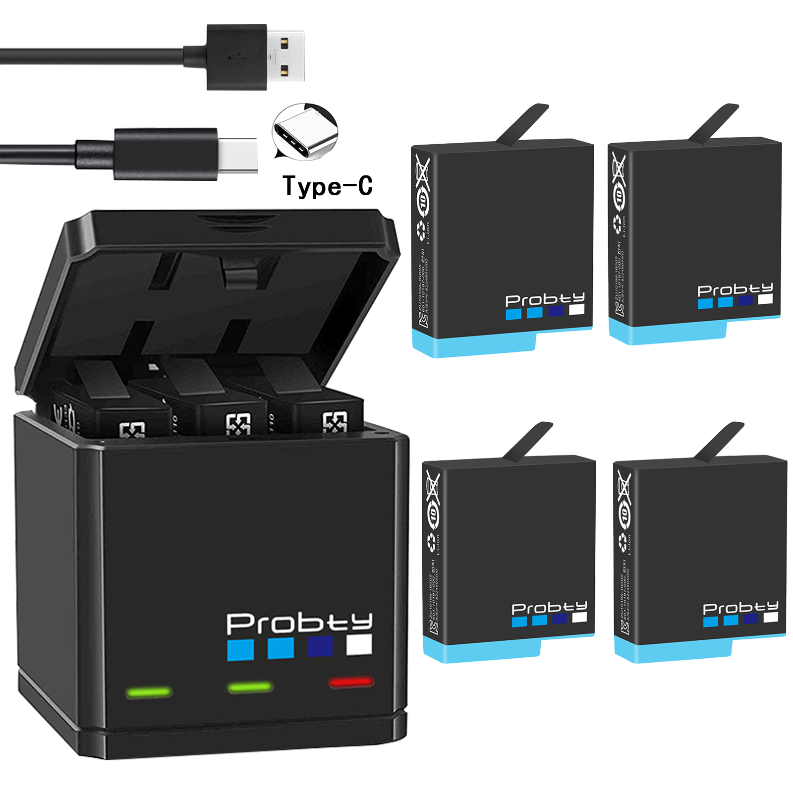 Original probty for GoPro Hero 8 hero 7 hero 6 5 Black Batteries or Triple Charger  title=