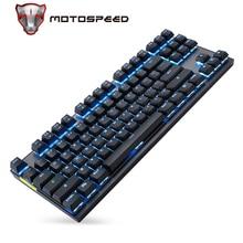 MOTOSPEED Teclado mecánico GK82 portátil, 2,4G, con cable/inalámbrico, modo Dual, 87 teclas, retroiluminación LED, para videojuegos, interruptor azul/rojo para PC