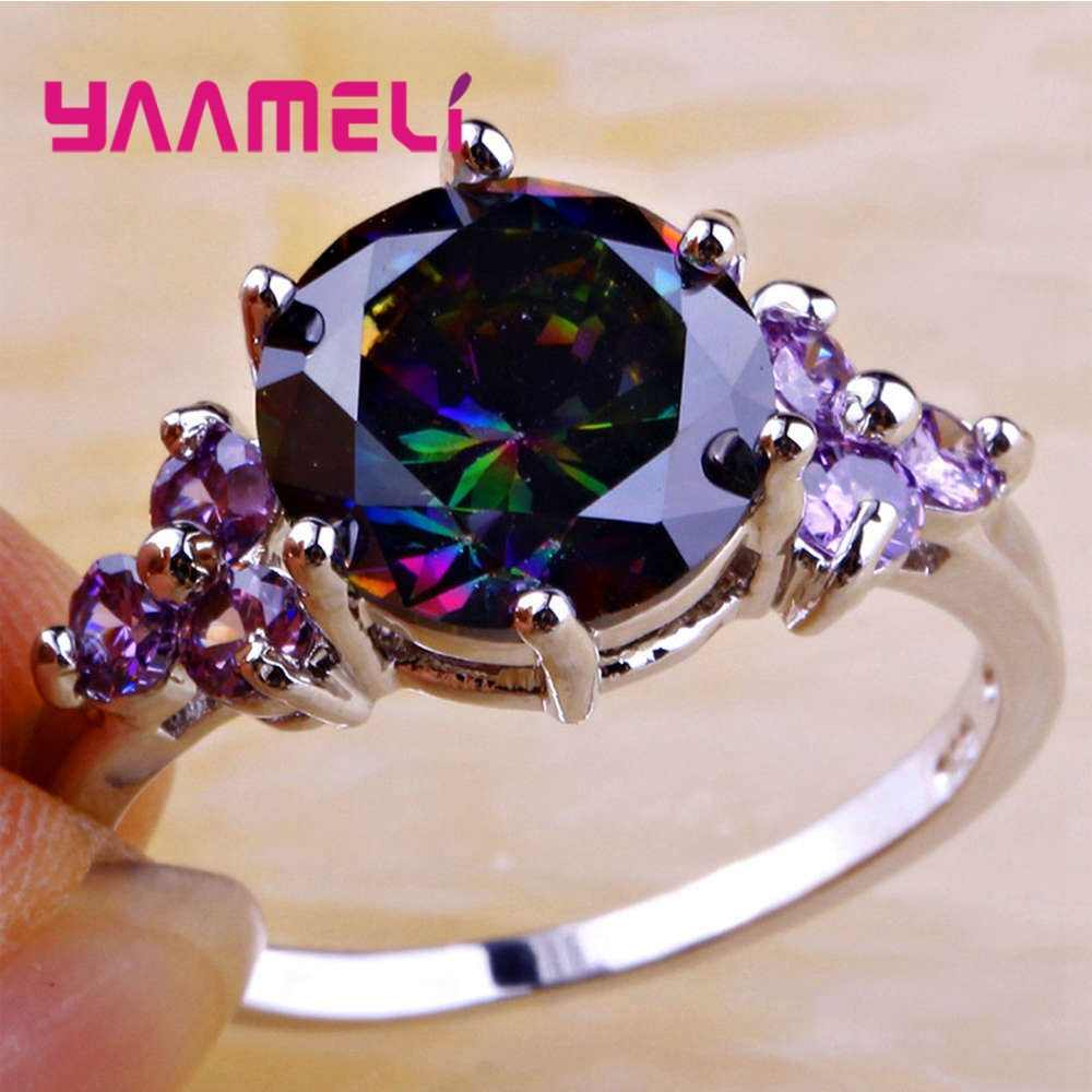 Gorąca sprzedaż owalne Rainbow pierścień cz dla kobiet mężczyzn 925 srebro moda obrączka zaręczynowa najwyższej jakości urok biżuterii