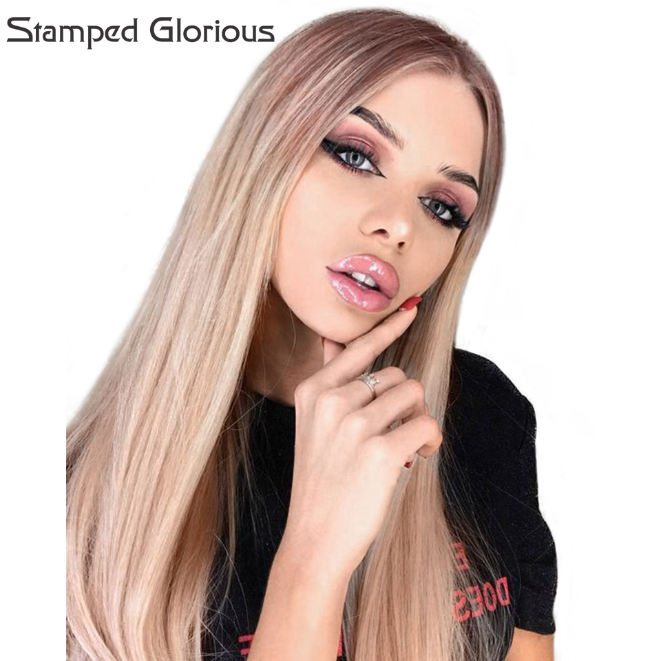 Stamped Gloriouss Synthetic Wigs Ombre Middle Part Long Stright Wig for Women 26Inches Dark Roots Wig Heat Resistant Fiber Hair