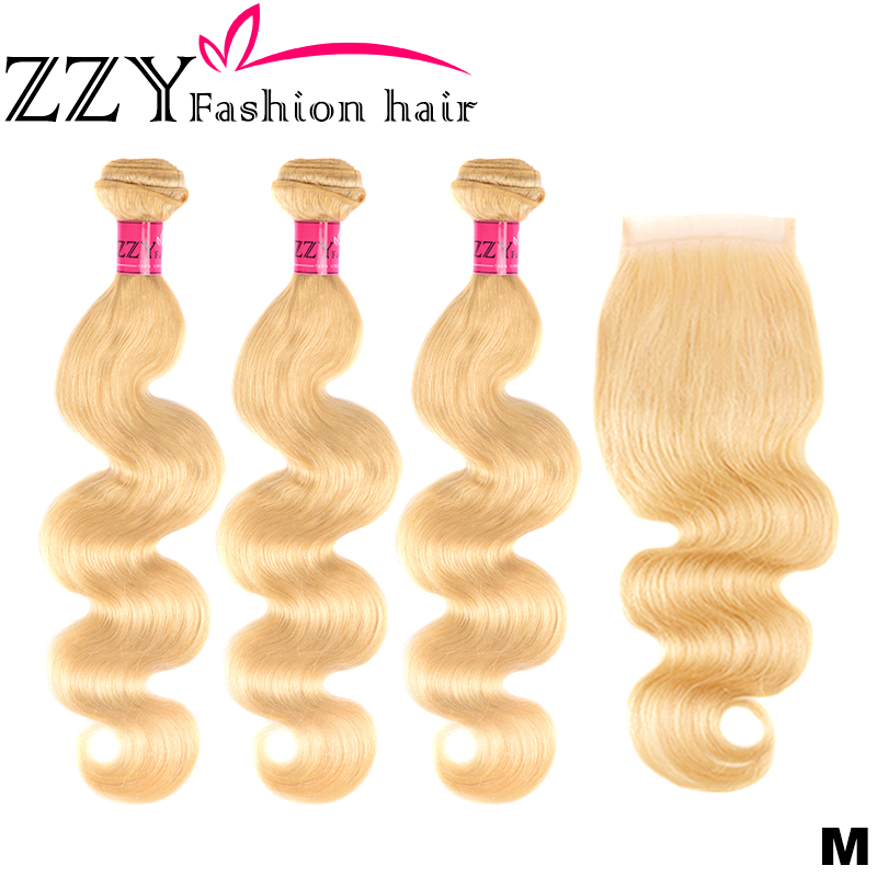 ZZY Fashion Hair 613 Blonde Bundles With Closure Brazilian Body Wave 3 Bundles Human Hair Bundles With Closure Non-remy