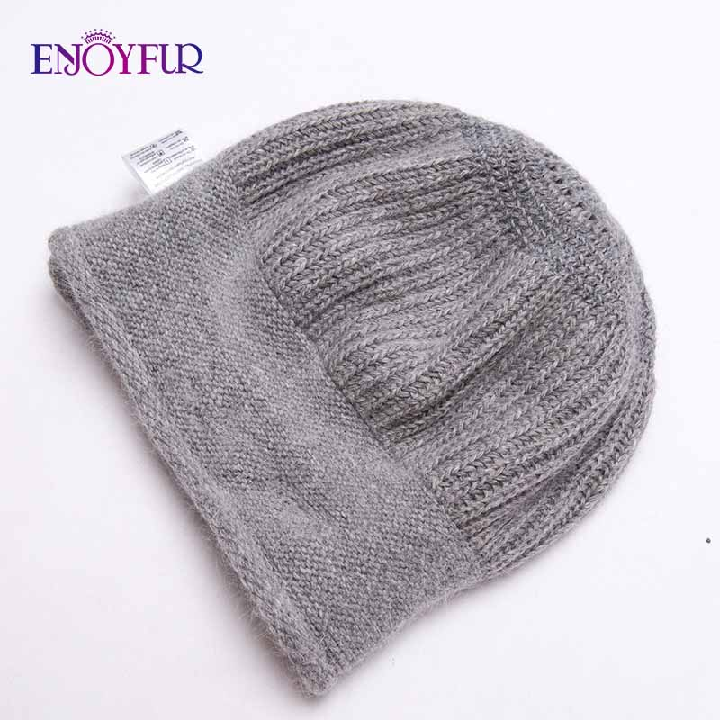 Image 5 - ENJOYFUR Rabbit Knitted Winter Hats For Women Cashmere Warm Beret Hat Female Flower Decoration Lady Middle Aged Cap-in Women's Berets from Apparel Accessories