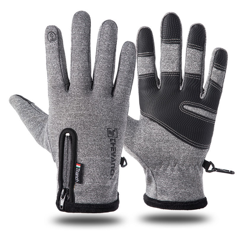Outdoor Waterproof Gloves Winter Zipper Touch Screen Heated Glove Motorcycle Gloves For Motorcycle Sports Velvet Mountaineering